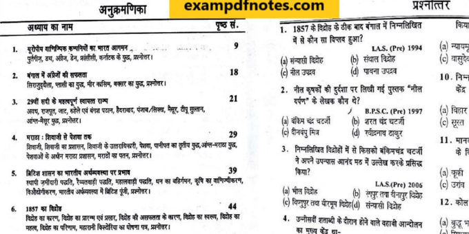 Modern Indian History PDF Notes - Exam PDF Notes