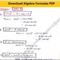 Algebra Formula pdf