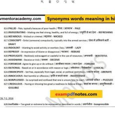 Synonyms words meaning in hindi