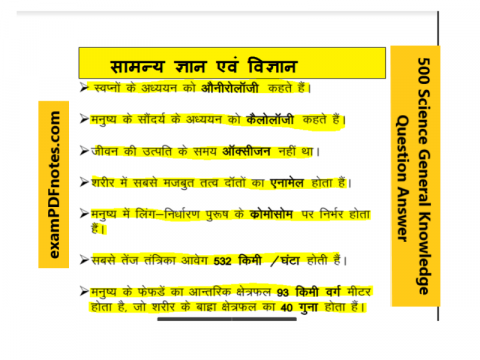 500 Science General Knowledge Question Answer in Hindi PDF Download