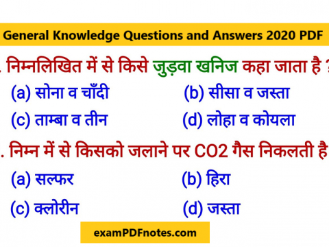 General Knowledge Questions and Answers PDF 2019-2020 in Hindi Download