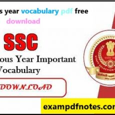 SSC previous year vocabulary pdf free download