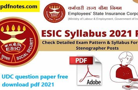 ESIC UDC question paper free download pdf 2021