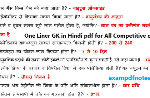 One Liner GK in Hindi pdf for All Competitive exams