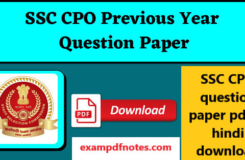 SSC CPO question paper pdf in hindi download