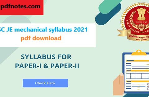 SSC JE mechanical syllabus 2021 pdf download